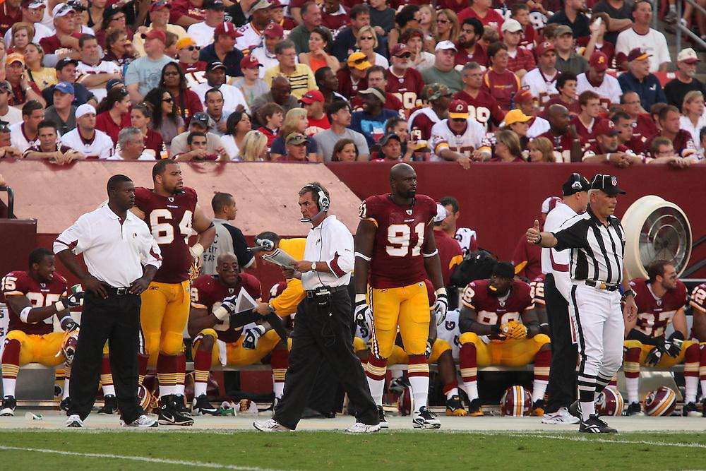 Landover, Md., Sept. 19, 2010 - Washington Redskins vs. Houston Texans - Coach Shanahan on the sidelines in the 4th quarter.
