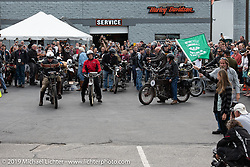 Class 1 riders Dean Bordigioni and Dan Emmerson leaving Big Moose Harley-Davidson for the official start of the Motorcycle Cannonball coast to coast vintage run. Stage-1 (145-miles) from Portland, Maine to Keene, NH. Saturday September 8, 2018. Photography ©2018 Michael Lichter.