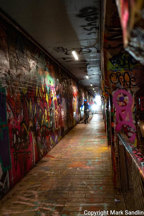 Atlanta Beltline Eastside Krog Street area, Graffitti lined underpass of the Atlanta area mass transit trainline(MARTA).
