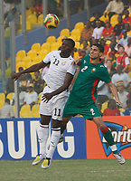 Photo: Steve Bond/Richard Lane Photography.<br />Ghana v Morocco. Africa Cup of Nations. 28/01/2008. Sulley Muntari (L) and Michael Basser (R) in the air