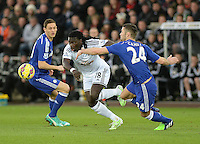 Swansea City's Bafetibis Gomis vies for possession with Chelsea's Gary Cahill<br /> <br /> Photographer /Ashley CrowdenCameraSport<br /> <br /> Football - Barclays Premiership - Swansea City v Chelsea - Saturday 17th January 2015 - Liberty Stadium - Swansea<br /> <br /> © CameraSport - 43 Linden Ave. Countesthorpe. Leicester. England. LE8 5PG - Tel: +44 (0) 116 277 4147 - admin@camerasport.com - www.camerasport.com