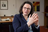 15 MAR 2018, BERLIN/GERMANY:<br /> Andrea Nahles, SPD Fraktionsvorsitzende, waehrend einem Interview, in ihrem Buero, Jakob-Kaiser-Haus, Deutscher Bundestag<br /> IMAGE: 20180315-01-023<br /> KEYWORDS: Büro