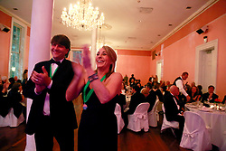 08 November 2014. New Orleans, Louisiana. <br />  2014 International Irish Famine Commemoration, Gallier Hall. Stewart Young and wife Robin enjoy the event.<br /> Photo; Charlie Varley/varleypix.com