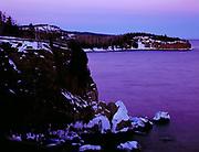 Winter dusk descending over Lake Superior north of Split Rock Lighthouse, Split Rock Lighthouse Stae Park, Minnesota.