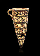 """Minoan decorated conical rhython geometric design , Konssos  'Unexplored Mansion"""" 1450-1370 BC;  Heraklion Archaeological  Museum, black background .<br /> <br /> If you prefer to buy from our ALAMY PHOTO LIBRARY  Collection visit : https://www.alamy.com/portfolio/paul-williams-funkystock/minoan-art-artefacts.html . Type -   Heraklion   - into the LOWER SEARCH WITHIN GALLERY box. Refine search by adding background colour, place, museum etc<br /> <br /> Visit our MINOAN ART PHOTO COLLECTIONS for more photos to download  as wall art prints https://funkystock.photoshelter.com/gallery-collection/Ancient-Minoans-Art-Artefacts-Antiquities-Historic-Places-Pictures-Images-of/C0000ricT2SU_M9w"""