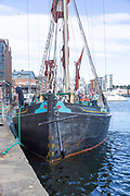 Historic sailing barge ship Victor built 1895 tying up at quayside, Wet Dock, Ipswich, Suffolk, England, UK