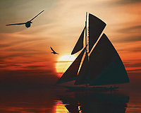 A sailboat sails on the sea at a beautiful sunset This painting easily brings the atmosphere of the sea to your home. This coastal scene can be printed in different sizes and on different materials. Both on canvas, wood, metal or framed so it certainly fits into your interior. –<br /> -<br /> BUY THIS PRINT AT<br /> <br /> FINE ART AMERICA / PIXELS<br /> ENGLISH<br /> https://janke.pixels.com/featured/sailing-boat-at-sunset-2-jan-keteleer.html<br /> <br /> <br /> WADM / OH MY PRINTS<br /> DUTCH / FRENCH / GERMAN<br /> https://www.werkaandemuur.nl/nl/shopwerk/Zeilboot-bij-zonsondergang-2/778268/132?mediumId=15&size=70x55<br /> –<br /> -