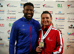 October 19, 2017 - London, England, United Kingdom - Amy Truesdale of Great Briatain after winning the Gold MedalWith Coach Andrew Dear  K44 F +58KG Final.during 7th World Para Taekwondo Championships 2017 at Copper Box Arena  London on 19 Oct 2017  (Credit Image: © Kieran Galvin/NurPhoto via ZUMA Press)