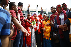 May 28, 2017 - Kathmandu, Nepal - CPN-UML party candidate Bidhya Sundar Shakya waves after winning the mayoral race of Kathmandu after the local elections in Kathmandu, Nepal on Sunday, May 28, 2017. (Credit Image: © Skanda Gautam via ZUMA Wire)