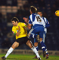 Photo: Paul Greenwood.<br />Bury v Hereford United. Coca Cola League 2. 30/01/2007. Hereford's Ben Smith, left, collides with Chris Brass
