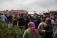 April 28 2011. Morocco, Marrakesh. people watching the scene of the Terrorist attack in Jama el Fnaa square. The blast ripped through a cafe overlooking Marrakesh's Jamaa el-Fnaa square, a spot often packed with foreign tourists.