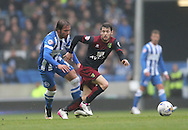 Inigo Calderon, Brighton defender during the Sky Bet Championship match between Brighton and Hove Albion and Norwich City at the American Express Community Stadium, Brighton and Hove, England on 3 April 2015.