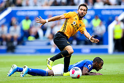 Joao Moutinho of Wolverhampton Wanderers tackles Ricardo Pereira of Leicester City - Mandatory by-line: Robbie Stephenson/JMP - 11/08/2019 - FOOTBALL - King Power Stadium - Leicester, England - Leicester City v Wolverhampton Wanderers - Premier League