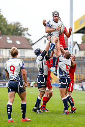 Yorkshire Carnegie Lock Liam Edwards wins a lineout - Photo mandatory by-line: Rogan Thomson/JMP - 07966 386802 - 14/09/2014 - SPORT - RUGBY UNION - Leeds, England - Headingley Carnegie Stadium - Yorkshire Carnegie v Bristol Rugby - Greene King IPA Championship.