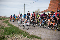 Trixi Worrack (GER) of Trek-Segafredo rides on the only cobbled section of the AG Driedaagse Brugge-De Panne - a 134.4 km road race, between Brugge and De Panne on April 21, 2018, in West Flanders, Belgium. (Photo by Balint Hamvas/Velofocus.com)