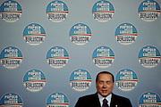 Silvio Berlusconi parla  al comizio del Popolo della Liberta' durante il quale sono state presentate le liste per le prossime elezioni politiche. Teatro Capranica di Roma, 25 gennaio 2013.<br /> Christian Mantuano /  Oneshot