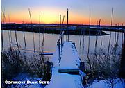 Fishing boat docks with snow, winter docks, dormant, Delaware Bay, New Jersey