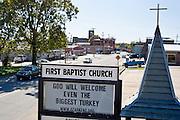 A sign at the First Baptist Church on Thursday, Nov. 11, 2011, in Ozark, Ark.