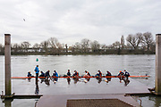 Hammersmith. London. United Kingdom,  LEA RC boating from the Furnivall SC pontoon. 2018 Men's Head of the River Race.  location Barnes Bridge, Championship Course, Putney to Mortlake. River Thames, <br /> <br /> Sunday   11/03/2018<br /> <br /> [Mandatory Credit:Peter SPURRIER Intersport Images]<br /> <br /> Leica Camera AG  M9 Digital Camera  1/250 sec. 50 mm f. 160 ISO.  17.5MB