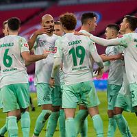 21.11.2020, Allianz Arena, Muenchen, GER,  FC Bayern Muenchen SV Werder Bremen <br /> <br /> <br />  im Bild Jubel nach dem Tor zum 0-1 durch Maximilian Eggestein (SV Werder Bremen #35) mit Josh Sargent (SV Werder Bremen #19) Ludwig Augustinsson (SV Werder Bremen #5) Josh Sargent (SV Werder Bremen #19) Milot Rashica (SV Werder Bremen #7) <br /> <br /> <br /> Foto © nordphoto / Straubmeier / Pool/ <br /> <br /> DFL regulations prohibit any use of photographs as image sequences and / or quasi-video.
