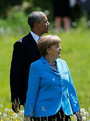 07.06.2015, Schloss Elmau, Krün, GER, G7 Gipfeltreffen auf Schloss Elmau, im Bild Barack Obama und Angela Merkel beim Spaziergang vor Schloss Elmau // during the G7 summit at Schloss Elmau in Krün, Germany on 2015/06/07. EXPA Pictures © 2015, PhotoCredit: EXPA/ SM<br /> <br /> *****ATTENTION - OUT of GER*****