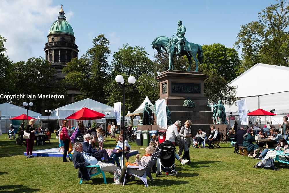 Edinburgh, Scotland, UK; 15 August, 2018. Pictured; View of visitors to book festival in Charlotte Square, Edinburgh.