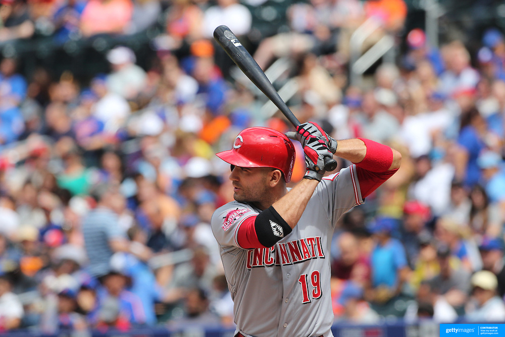 Joey Votto, Cincinnati Reds, batting during the New York Mets Vs Cincinnati Reds MLB regular season baseball game at Citi Field, Queens, New York. USA. 28th June 2015. Photo Tim Clayton