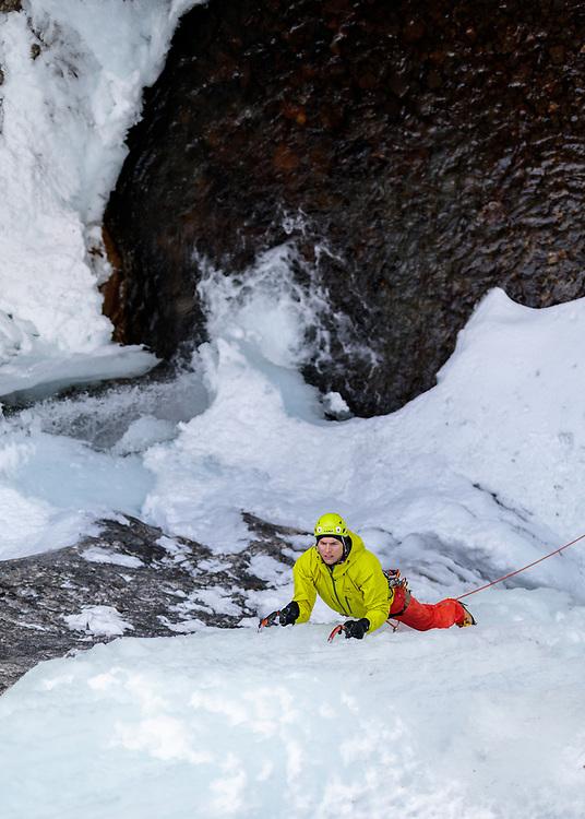 Pat Lindsay ice climbing Tasting Fear, a 30m WI5 in Kananaskis, Alberta, Canada