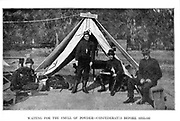 Confederates before the Battle of Shilo [The Battle of Shiloh (also known as the Battle of Pittsburg Landing) was an early battle in the Western Theater of the American Civil War, fought April 6–7, 1862, in southwestern Tennessee.] from the book ' The Civil war through the camera ' hundreds of vivid photographs actually taken in Civil war times, sixteen reproductions in color of famous war paintings. The new text history by Henry W. Elson. A. complete illustrated history of the Civil war