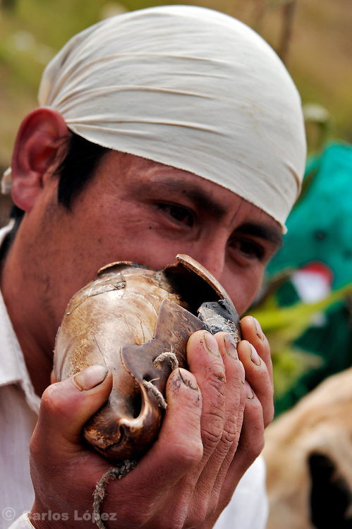 A MAN BLOWING A CONCH WHICH PRODUCE A PECULIAR SOUND., .   The Hatun Luya is a festival celebrated every september 13th, where everyone from the surrounding areas comes together. During this festivity, you can witness demonstrations of popular customs.