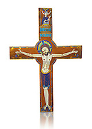 Medieval enamelled crucifix, circa end of 12th century from Limoges, enamel on gold. AD. Inv OA 2956, The Louvre Museum, Paris. .<br /> <br /> If you prefer you can also buy from our ALAMY PHOTO LIBRARY Collection visit : https://www.alamy.com/portfolio/paul-williams-funkystock/limoges-enamel-antiquities.html Type - louvre - into the LOWER SEARCH WITHIN GALLERY box. <br /> <br /> Visit our MEDIEVAL ART PHOTO COLLECTIONS for more photos to download or buy as prints https://funkystock.photoshelter.com/gallery-collection/Medieval-Gothic-Art-Antiquities-Historic-Sites-Pictures-Images-of/C0000gZ8POl_DCqE