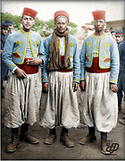 Colorized photographs soldiers from the World War One<br /> <br /> With his impressive colorized photographs of the World War One, Frédéric Duriez gives us a new look at the conflict that ravaged the world between 1914 and 1918, revealing the difficult daily life of the French soldiers. <br /> <br /> Photo Shows: Maney, Moe and Jacques posing for the camera in their Turco uniforms. They later opened an automotive supply store with great success <br /> ©Frédéric Duriez/Exclusivepix Media