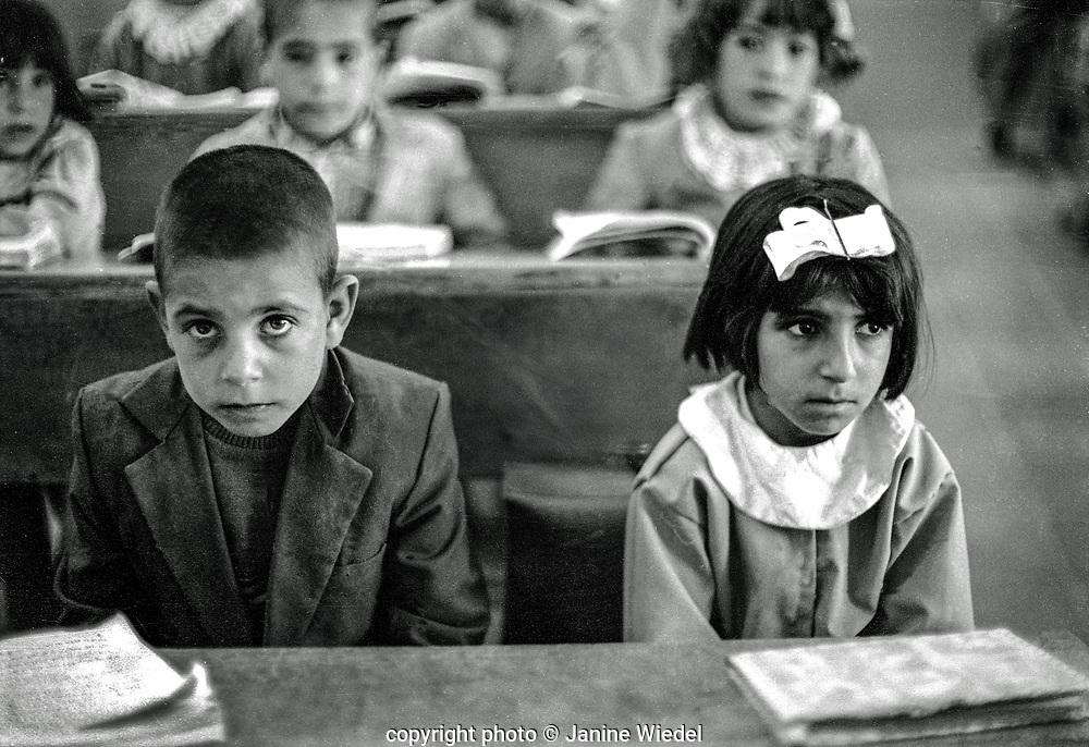 Primary school children in classromm, Tehran Iran 1970s