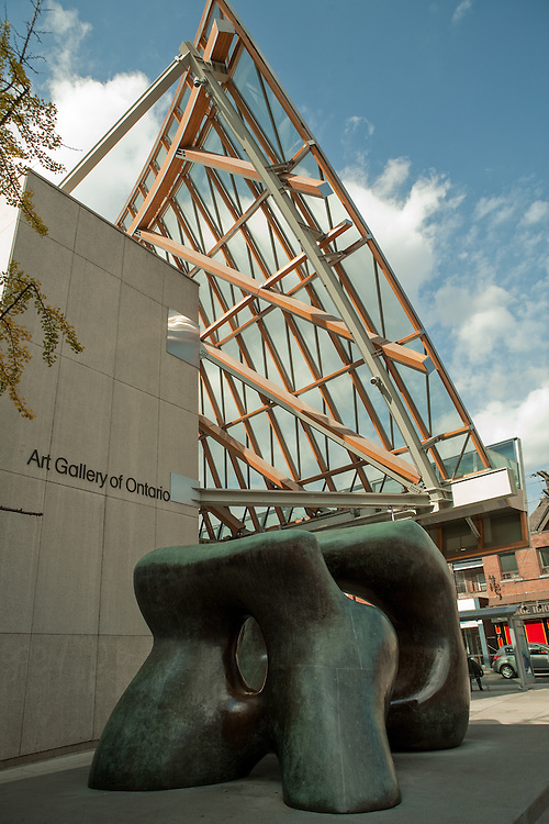 "Henry Moore sculpture ""Large Two Forms"" outside the Frank Gehry-designed Art Gallery of Ontario."