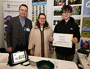 24/11/2019 repro free:<br />  Paul Mee Chairman Galway Science and Technology Festival with from Arann Island Helen Ní Chríodáin and  Aindrias O Floinn at  the Galway Science and Technology Festival  at NUI Galway where over 20,000 people attended exhibition stands  from schools to Multinational Companies . Photo:Andrew Downes, xposure