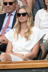 © Licensed to London News Pictures. 04/07/2018. London, UK. Carolin Dawson watches centre court tennis at the Wimbledon Tennis Championships 2018, Day 3. Photo credit: Ray Tang/LNP