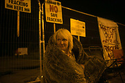 12 local activists locked themselves in specially made arm tubes to block the entrance to Quadrillas drill site in New Preston Road, July 03 2017, Lancashire, United Kingdom. Cath Robinson. The 13 activists included 3 councillors; Julie Brickles, Miranda Cox and Gina Dowding and Nick Danby, Martin Porter, Jeanette Porter,  Michelle Martin, Louise Robinson,<br /> Alana McCullough, Nick Sheldrick, Cath Robinson, Barbara Cookson, Dan Huxley-Blyth. The blockade is a repsonse to the emmidiate drilling for shale gas, fracking, by the fracking company Quadrilla. Lancashire voted against permitting fracking but was over ruled by the conservative central Government. All the activists have been active in the struggle against fracking for years but this is their first direct action of peacefull protesting. Fracking is a highly contested way of extracting gas, it is risky to extract and damaging to the environment and is banned in parts of Europe . Lancashire has in the past experienced earth quakes blamed on fracking.