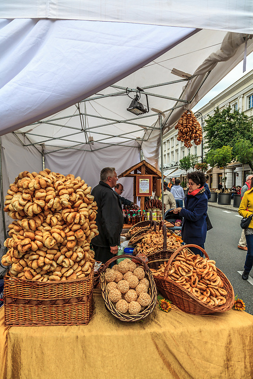 A bread selling at market in  Warsaw, Poland.