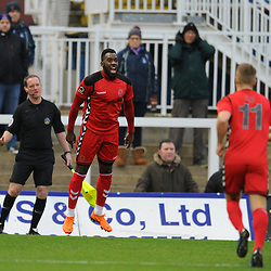 TELFORD COPYRIGHT MIKE SHERIDAN 12/1/2019 - GOAL. Amari Morgan Smith of AFC Telford celebrates after scoring to make it 1-0 during the Vanarama Conference North fixture between AFC Telford United and Hartlepool United at the Super Six Stadium.