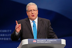 © Licensed to London News Pictures. 05/10/2015. Manchester, UK. Transport Secretary Patrick McLoughlin speaking at Conservative Party Conference at Manchester Central in Manchester on Monday, 5 October 2015. Photo credit: Tolga Akmen/LNP