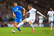 Wayne Rooney of England latches on to a long ball but fails to capitalise - England vs. Slovenia - UEFA Euro 2016 Qualifying - Wembley Stadium - London - 15/11/2014 Pic Philip Oldham/Sportimage