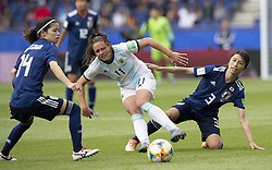 Yui HASEGAWA (JPN), Florencia BONSEGUNDO (ARG), Aya SAMESHIMA (JPN) in action during the match of 2019 FIFA Women's World Cup France group D match between Argentina andJapan, at Parc des Princes on June 10, 2019 in Paris, France. Photo by Loic BARATOUX/ABACAPRESS.COM