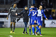 Bristol Rovers manager Ben Garner celebrates the 2-1 win with his players at full time during the EFL Sky Bet League 1 match between Bristol Rovers and Blackpool at the Memorial Stadium, Bristol, England on 15 February 2020.