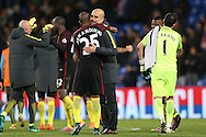 Pep Guardiola, the Manchester City manager hugs Fernandinho of Manchester City  after the final whistle.Premier League match, Crystal Palace v Manchester city at Selhurst Park in London on Saturday 19th November 2016. pic by John Patrick Fletcher, Andrew Orchard sports photography.