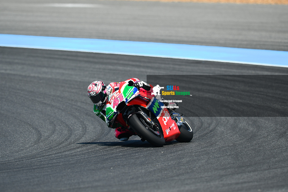 BURIRAM, THAILAND - OCTOBER 06: Aleix Espargaro (41) of Spain and Aprilia Racing Team Gresini in Turn 3 during FP3 at the MotoGP PTT Thailand Grand Prix 2018, Chang International Circuit, Buriram, Thailand on October 06, 2018. <br /> .<br /> .<br /> .<br /> (Photo by: Naratip Golf Srisupab/SEALs Sports Images)<br /> .<br /> Any image use must include a mandatory credit line adjacent to the content which should read: Naratip Golf Srisupab/SEALs Sports Images