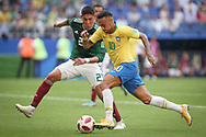 Neymar of Brazil and Edson Alvarez of Mexico during the 2018 FIFA World Cup Russia, round of 16 football match between Brazil and Mexico on July 2, 2018 at Samara Arena in Samara, Russia - Photo Thiago Bernardes / FramePhoto / ProSportsImages / DPPI