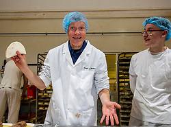 Pictured: Willie Rennie and baker Dylan Hamilton make some steak bridies<br /><br />Scottish Liberal Democrat leader Willie Rennie was busy making pies and bridies today while discussing how voters stop a second independence referendum on a visit to Stuart Bakery. in  Methil<br /><br />Ger Harley | EEm 6 December 2019