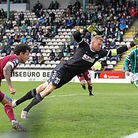 17.10.2020, Dietmar-Scholze-Stadion an der Lohmuehle, Luebeck, GER, 3. Liga, VfB Luebeck vs SG Dynamo Dresden <br /> <br /> im Bild / picture shows <br /> Tor zum 0:1 . Torschütze/Torschuetze Philipp Hosiner (SG Dynamo Dresden)  trifft zum 0:1 ins Tor von Torwart Lukas Raeder (VfB Luebeck) <br /> <br /> DFB REGULATIONS PROHIBIT ANY USE OF PHOTOGRAPHS AS IMAGE SEQUENCES AND/OR QUASI-VIDEO.<br /> <br /> Foto © nordphoto / Tauchnitz