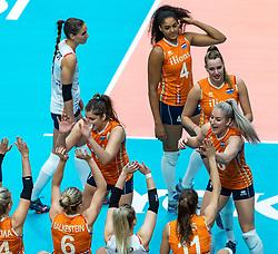 20-10-2018 JPN: Final World Championship Volleyball Women day 18, Yokohama<br /> China - Netherlands 3-0 / Team Netherlands, Juliet Lohuis #7 of Netherlands, Marrit Jasper #18 of Netherlands
