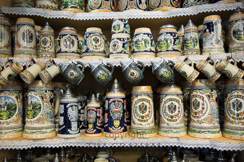 Traditional tankards on sale in the town of Seefeld in the Tyrol, Austria
